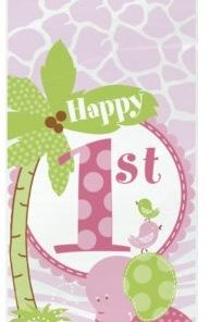1st Birthday Pink Safari Party Cellophane Bags