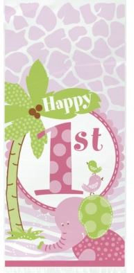 1st Birthday Pink Safari Party Cellophane Bags