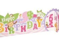 1st Birthday Pink Safari Party 3D Centrepiece