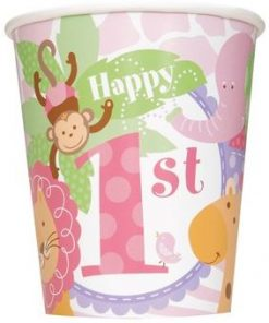 1st Birthday Pink Safari Party Paper Cups