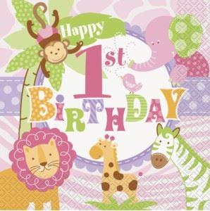 1st Birthday Pink Safari Party Decorations