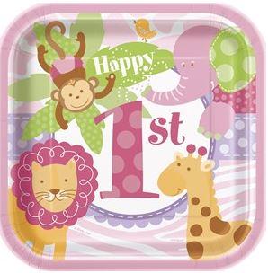 1st Birthday Pink Safari Party Paper Dessert Plates