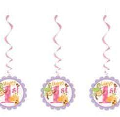 1st Birthday Pink Safari Party Hanging Swirl Decorations