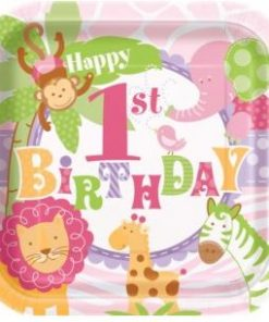 1st Birthday Pink Safari Party Paper Plates