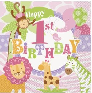 1st Birthday Pink Safari Party Paper Napkins