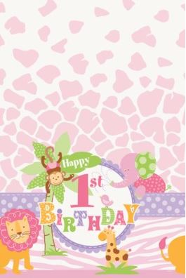 1st Birthday Pink Safari Party Plastic Tablecover