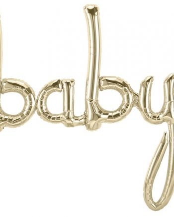 Baby White Gold Script Phrase Balloon