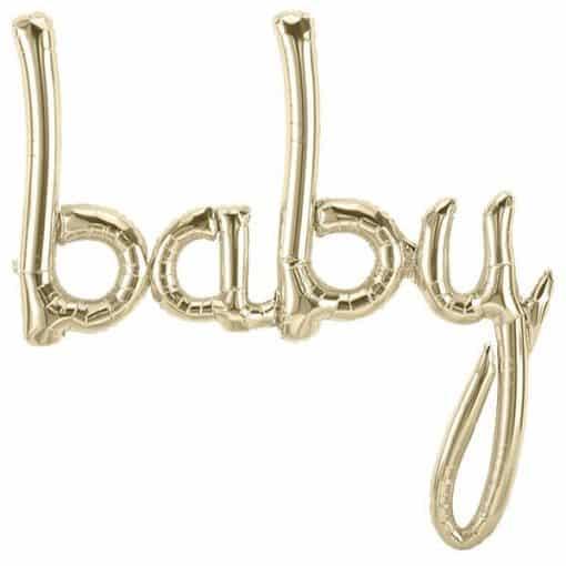 Baby White Gold Script Phrase Balloon