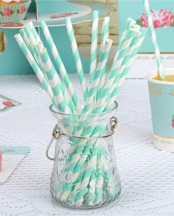 Eternal Rose Tea Party Turquoise Stripe Paper Straws