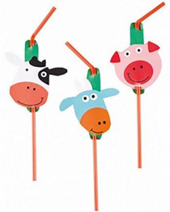 Farm Fun Party Drinking Straws