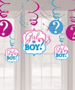 Gender Reveal Party Hanging Swirl Decorations