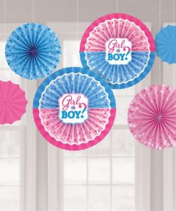 Gender Reveal Party Paper Fan Decorations