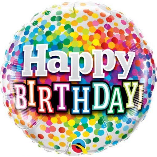 Happy Birthday Rainbow Confetti Balloon