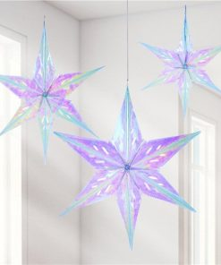 Iridescent Foil Star Decorations