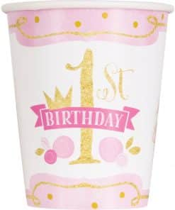 Pink & Gold 1st Birthday Party Paper Cups