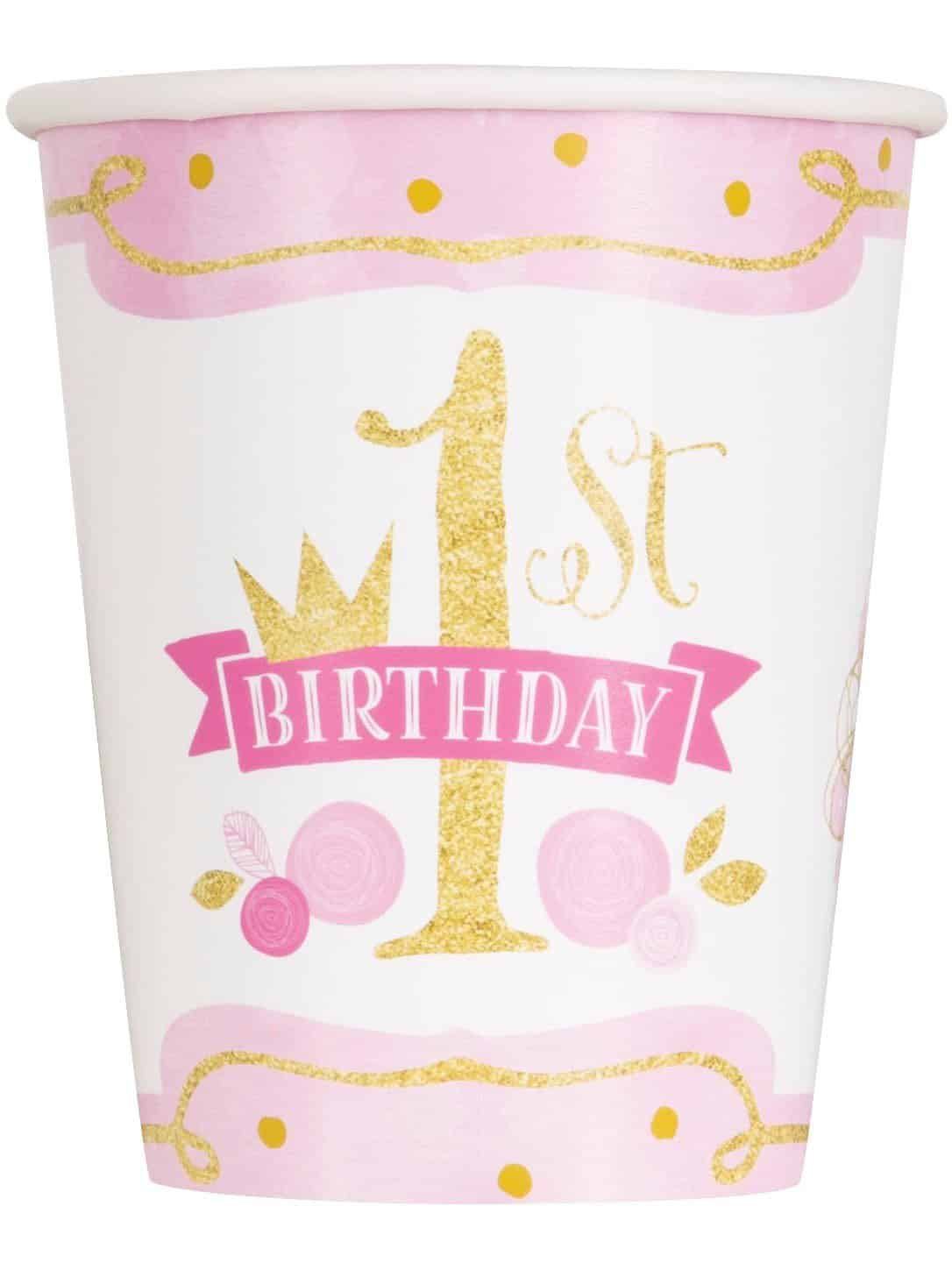 Pink Gold 1st Birthday Party Paper Cups