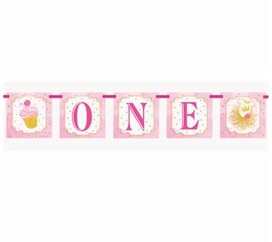 Pink & Gold 1st Birthday Party Flag Banner