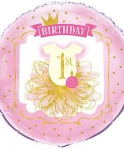 Pink & Gold 1st Birthday Party Balloon