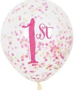 Pink & Gold 1st Birthday Party Latex Confetti Balloons