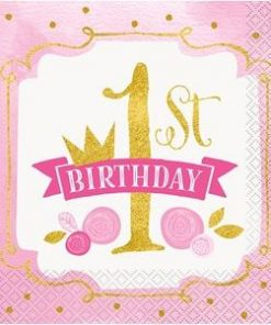 Pink & Gold 1st Birthday Party Paper Napkins