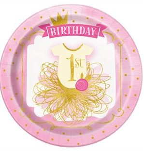 Pink & Gold 1st Birthday Party Paper Plates