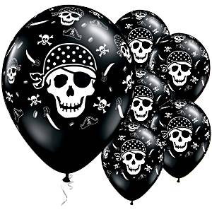Skull /& Crossbones 11 Latex Balloons