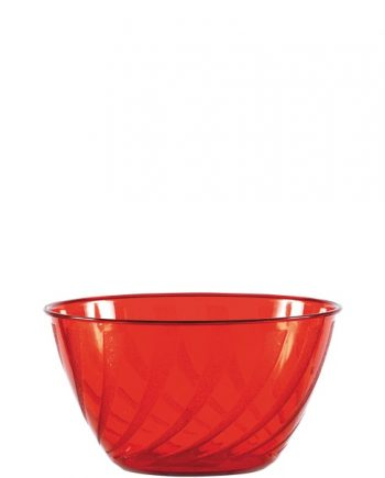 Red Swirl Plastic Bowl