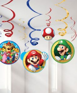 Super Mario Party Hanging Swirl Decorations