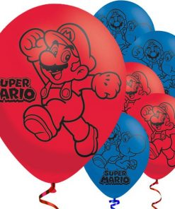 Super Mario Red & Blue Latex Balloons