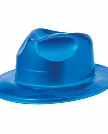 70s Disco Fever Blue Plastic Fedora Hat