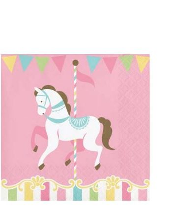 Carousel Baby Shower Party Beverage Napkins