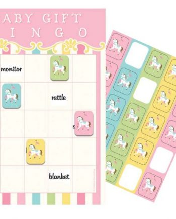 Carousel Baby Shower Party Bingo Game
