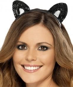 Halloween Black Sequin Cat Ears