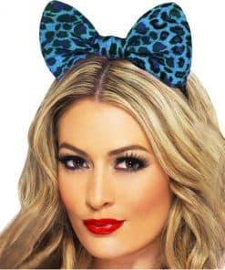 Blue Leopard Print Bow Ears