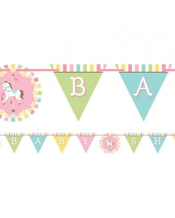 Carousel Baby Shower Party Shaped Ribbon Bunting