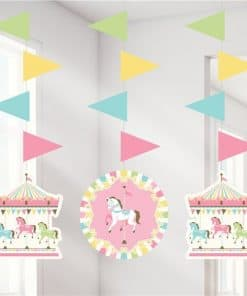 Carousel Baby Shower Party Hanging Cutout Decorations