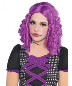 Halloween Damaged Doll Purple Wig