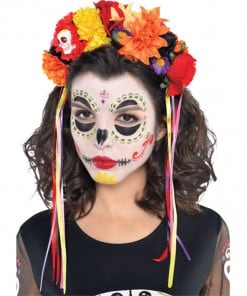 Halloween Day of the Dead Floral Band Headpiece