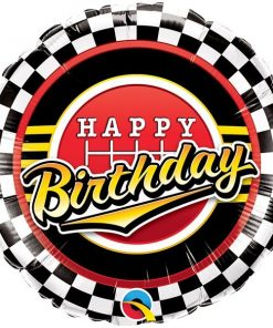 Happy Birthday Racing Chequered Foil Balloon