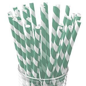 Mint Stripe Paper Straws