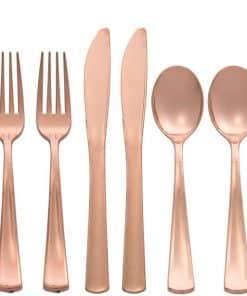 Premium Rose Gold Plastic Cutlery
