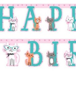 Purrfect Kitten Party Happy Birthday Banner