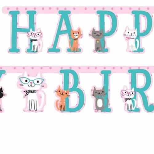 Cat Birthday Banner: Purrfect Kitten Party Happy Birthday Banner