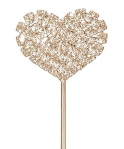 Rose Gold Diamante Heart Cake Pick