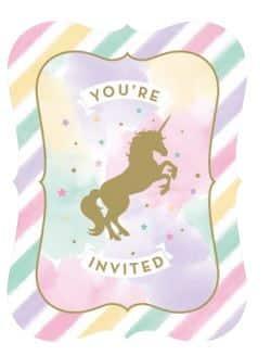 Unicorn Sparkle Party Postcard Style Invitations