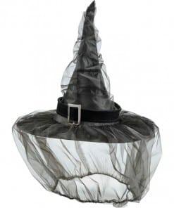 Halloween Witches Black Veil Hat