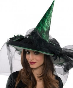 Halloween Witches Giant Crow Embellished Hat