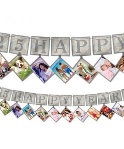 25th Silver Sparkling Wedding Anniversary Photo Garland