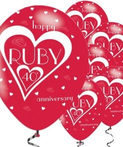 40th Ruby Wedding Anniversary Printed Latex Balloons