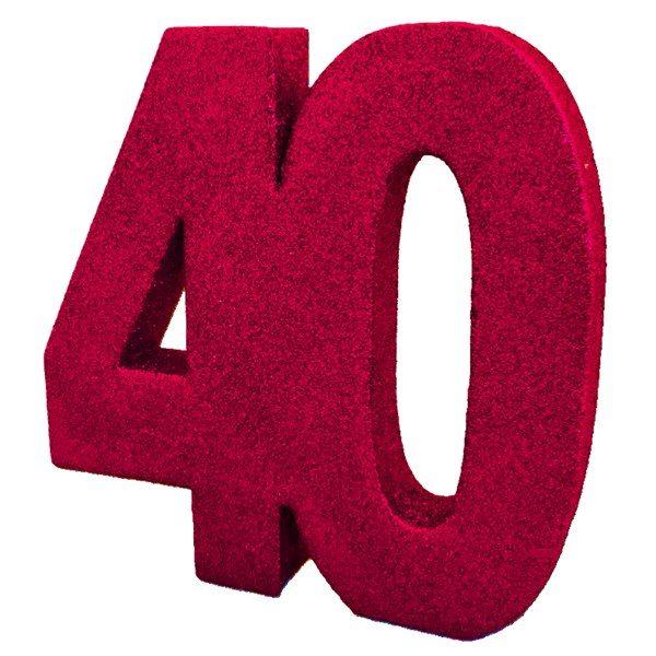 40th Ruby Wedding Anniversary Glitter Table Decoration